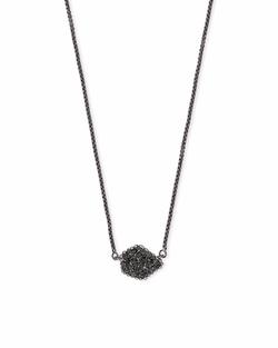 Kendra Scott ~ Tess Pendant Necklace (Gunmetal/Black Drusy)