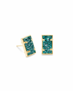 Kendra Scott ~ Paola Stud Earrings (Gold/Aqua Drusy)