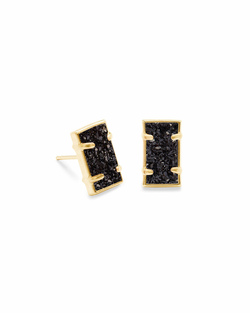 Kendra Scott ~ Paola Stud Earrings (Gold/Black Drusy)