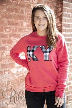 Chix Exclusive ~ State Pride Sweatshirt (Red/Buffalo Plaid)