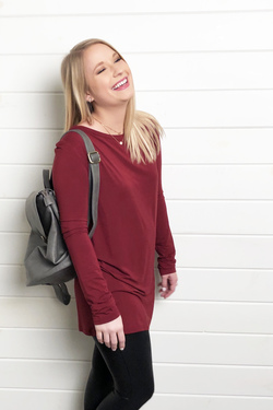 Piko ~ Don't Overthink It Tunic Top (Wine)