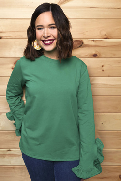 PRE-ORDER: Let's Get Frilly Top (Kelly Green)