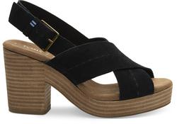 TOMS Black Suede Ibiza Sandals