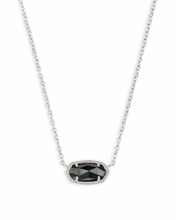 Kendra Scott ~ Elisa Silver Pendant Necklace In Black