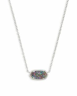 Kendra Scott ~ Elisa Silver Pendant Necklace In Multicolor Drusy
