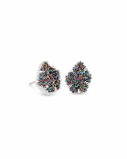 Kendra Scott ~ Tessa Silver Stud Earrings In Multicolor Drusy