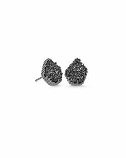Kendra Scott ~ Tessa Gunmetal Stud Earrings In Black Drusy