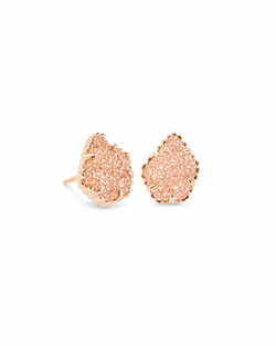 Kendra Scott ~ Tessa Rose Gold Stud Earrings In Sand Drusy