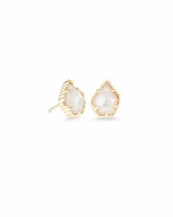 Kendra Scott ~ Tessa Gold Stud Earrings In Ivory Pearl