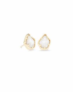 Kendra Scott ~ Tessa Gold Stud Earrings In White Pearl