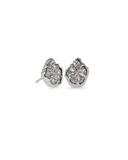 Kendra Scott ~ Tessa Silver Stud Earrings In Platinum Drusy
