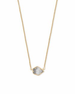 Kendra Scott ~ Tess Gold Small Pendant Necklace In Slate Cats Eye