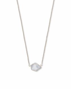 Kendra Scott ~ Tess Silver Small Pendant Necklace In Slate Cats Eye