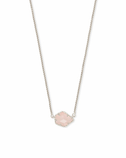 Kendra Scott ~ Tess Silver Small Pendant Necklace In Rose Quartz