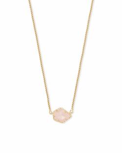 Kendra Scott ~ Tess Gold Small Pendant Necklace In Rose Quartz