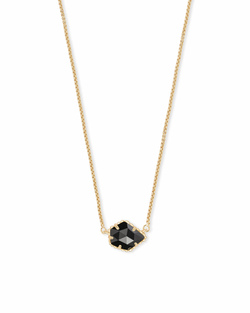 Kendra Scott ~ Tess Gold Small Pendant Necklace In Black Opaque Glass