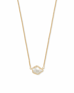Kendra Scott ~ Tess Gold Small Pendant Necklace In Ivory Pearl