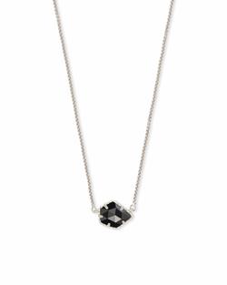Kendra Scott ~ Tess Silver Small Pendant Necklace In Black