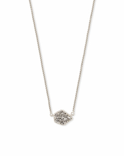 Kendra Scott ~ Tess Silver Pendant Necklace In Platinum Drusy
