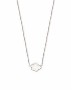 Kendra Scott ~ Tess Silver Small Pendant Necklace In White Pearl