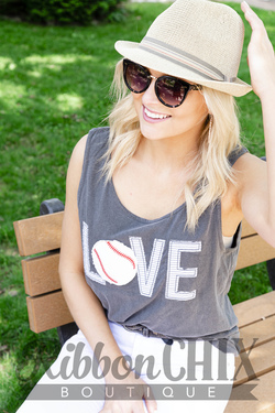 Chix Made ~ Baseball Love Tank in Gray