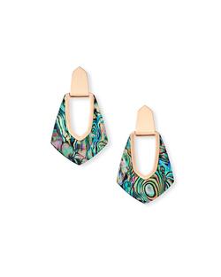 Kendra Scott ~ Kensley Rose Gold Hoop Earrings In Abalone Shell
