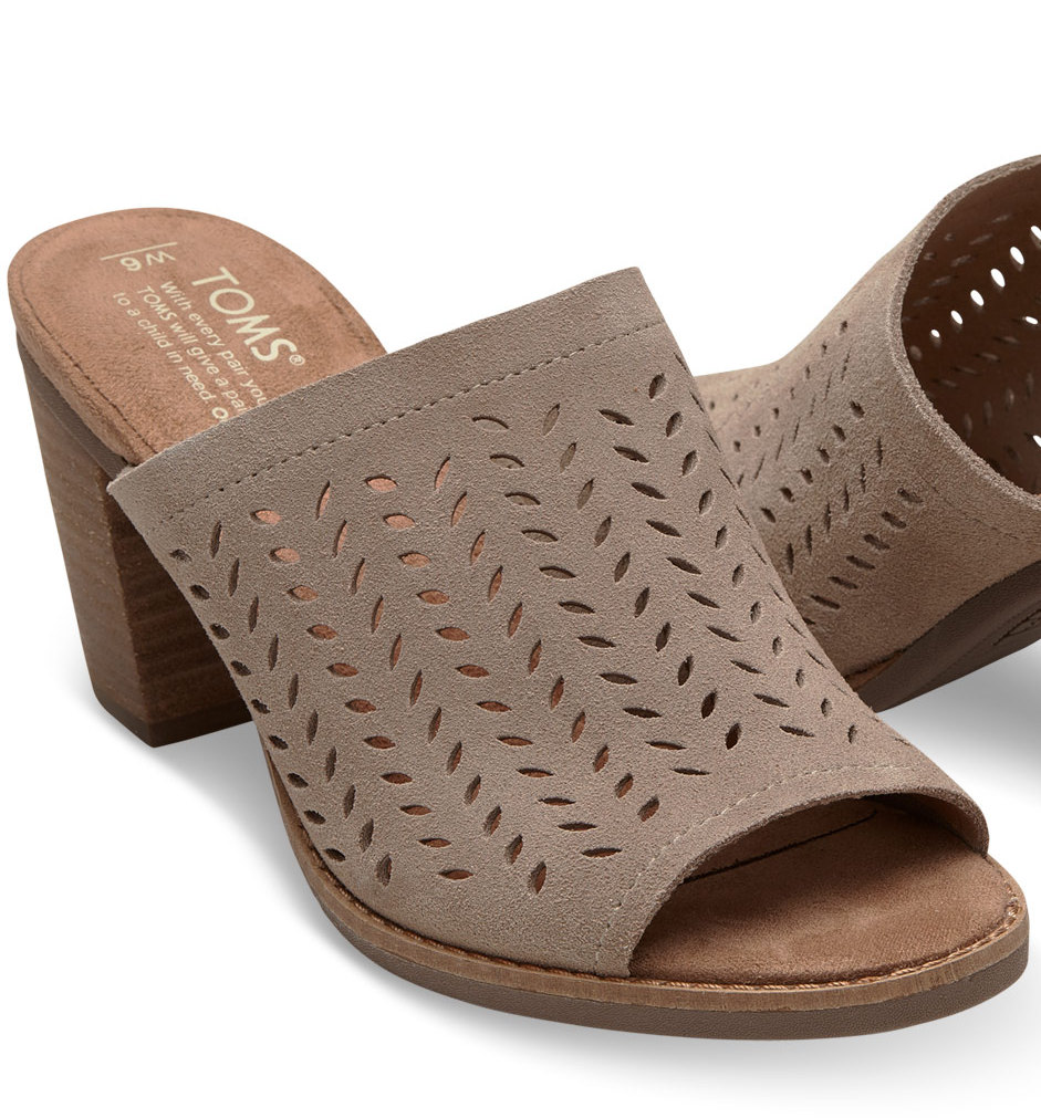 c3e27a8217a TOMS Taupe Suede Perforated Women s Majorca Mule Sandal. (Click image to  enlarge)