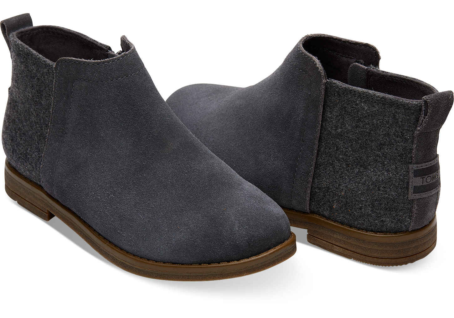 2ebb4aa99e8 TOMS ~ Deia Bootie Youth (Forged Iron Grey Suede). (Click image to enlarge)
