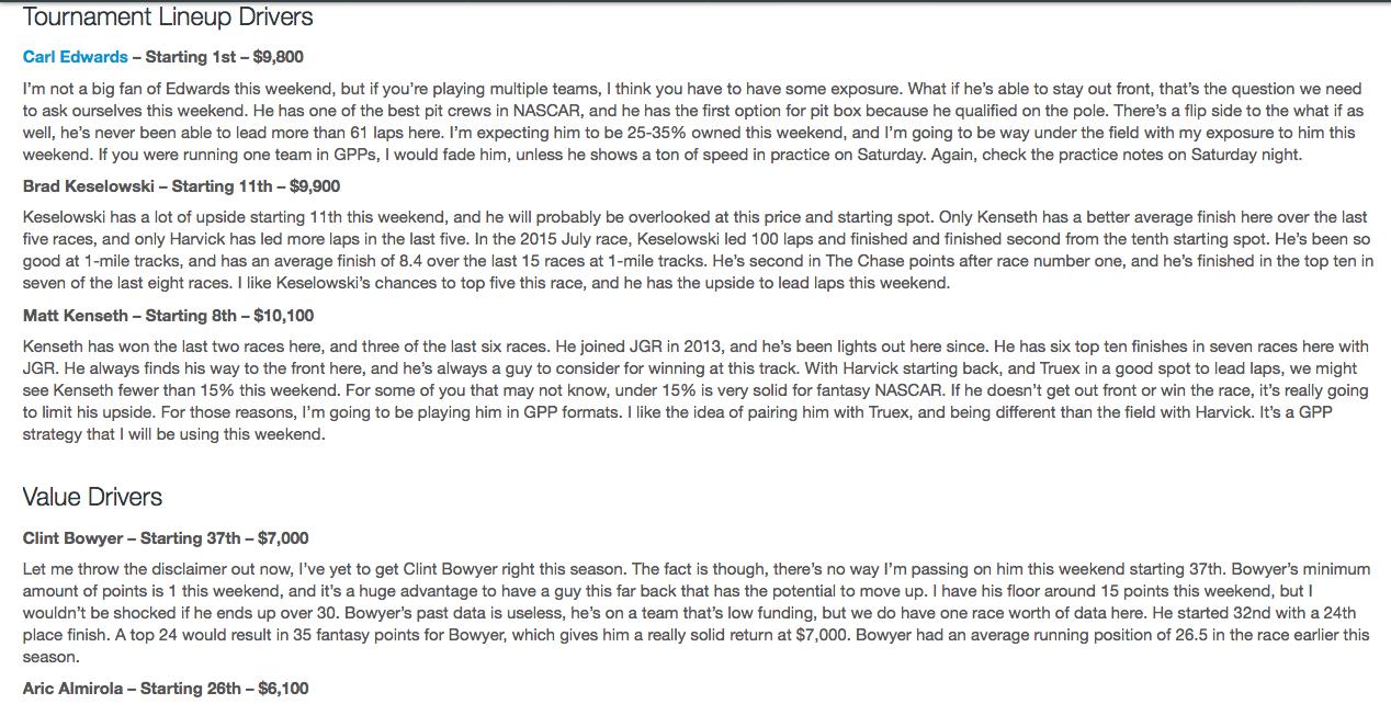 Stevies NASCAR Package Breakdown