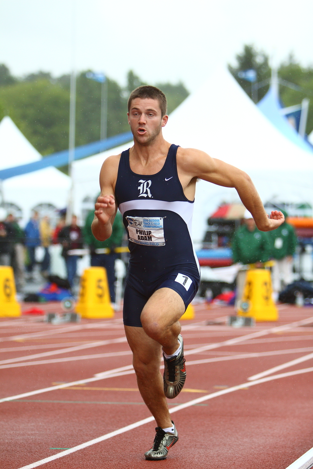 Philip Adam is currently in 10th place after the first day of the decathlon at the NCAA Outdoor Track and Field Championships.