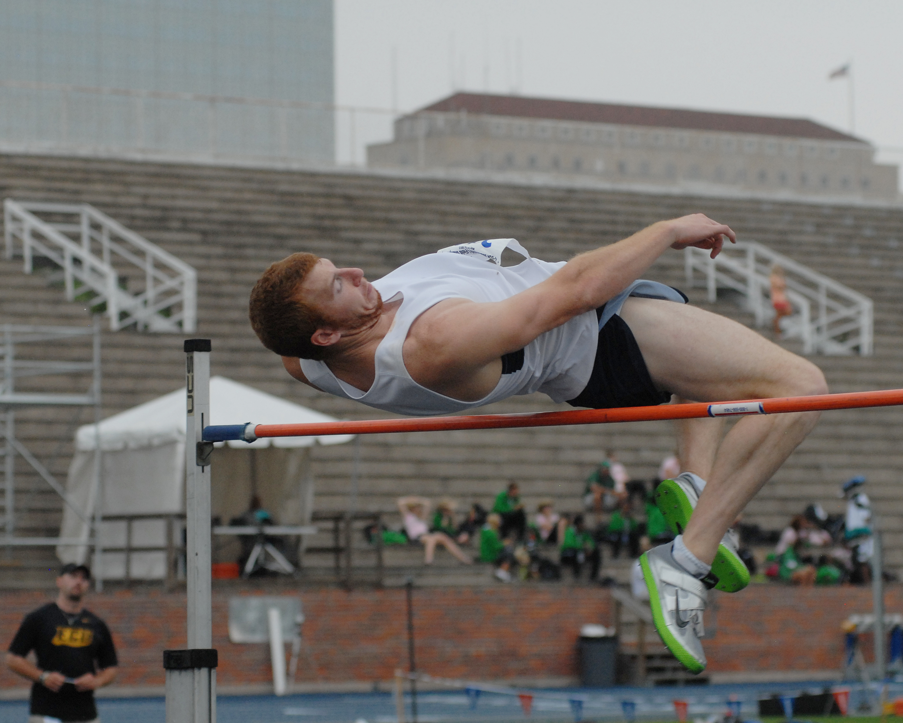 Clayton Chaney leads the decathlon after five events
