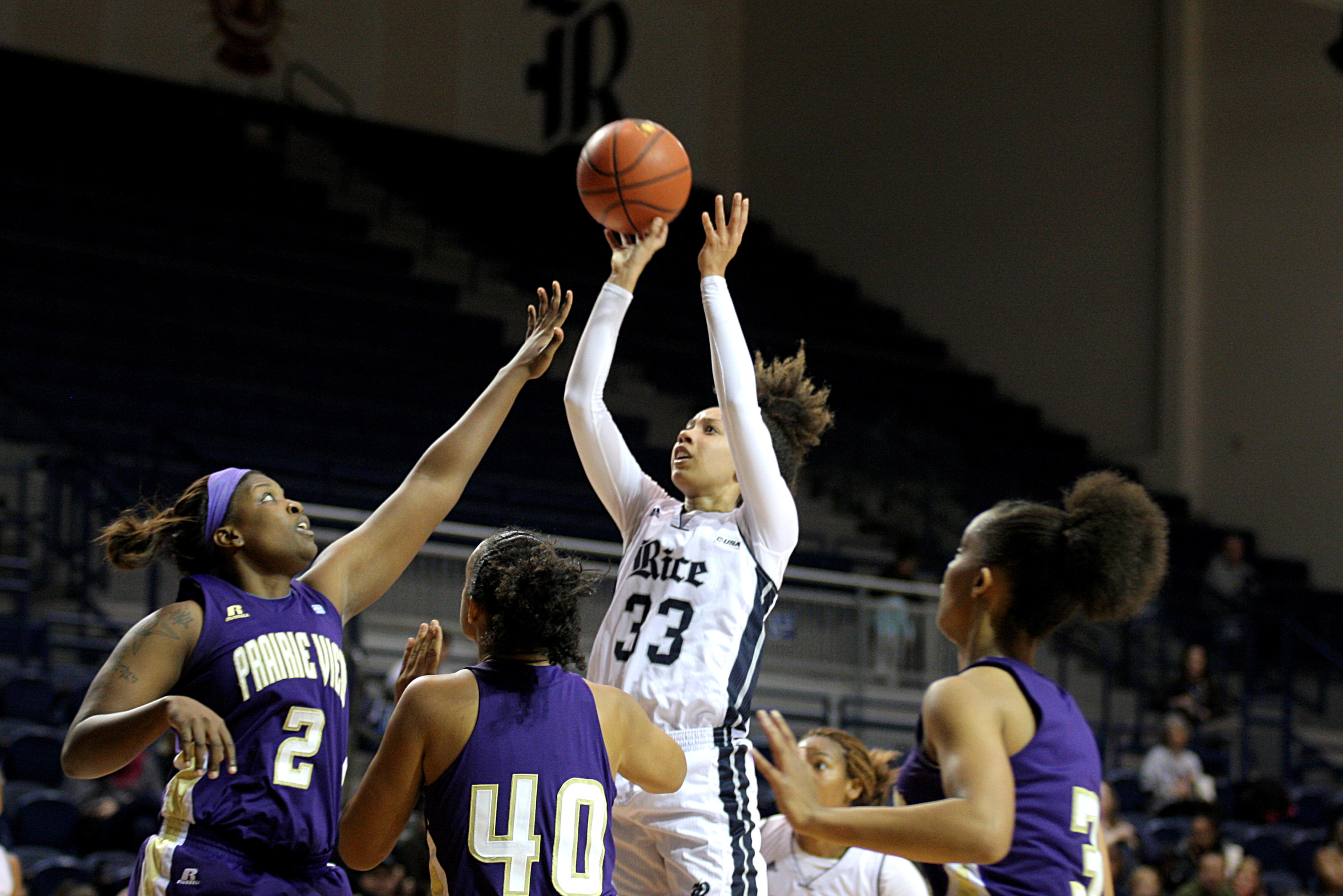 Jasmine Goodwine registered her first career double-double in Friday's 70-58 win over Prairie View.