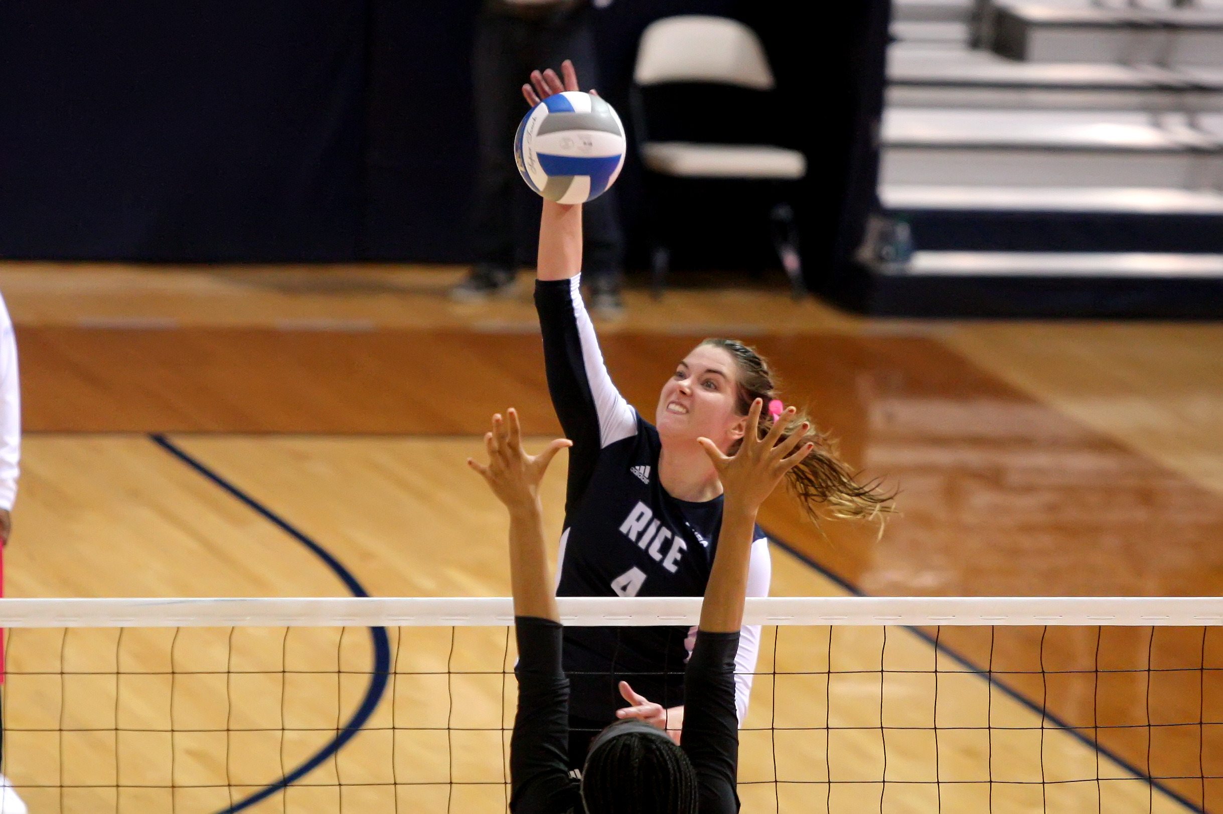 Leah Mikesky earned her 12th double-double of the season in Rice's 3-2 win over North Texas.