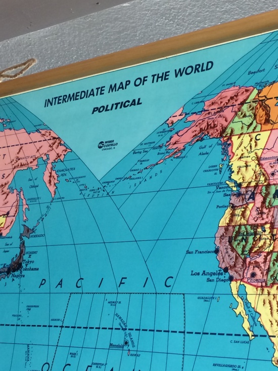 Roll Down World Map.Lester River Trading Co Home Decor 1970s Weber Costello Pull
