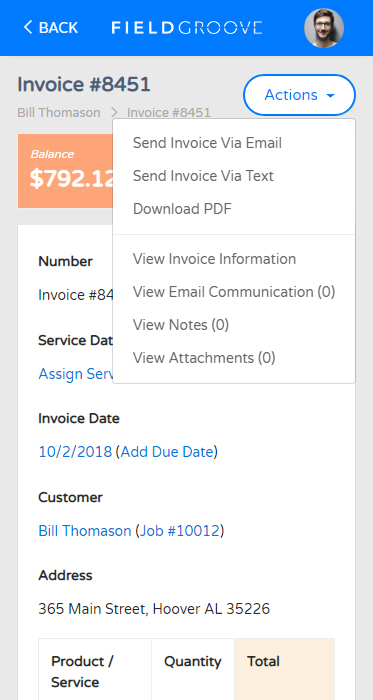FieldGroove Invoice Mobile