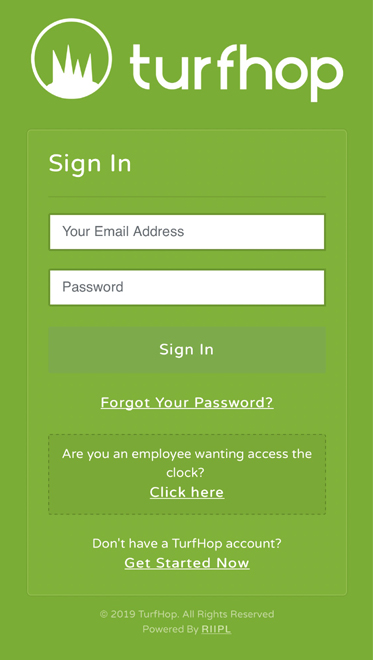 TurfHop Mobile Login