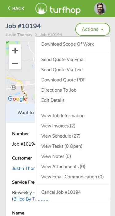 TurfHop Job Page Mobile