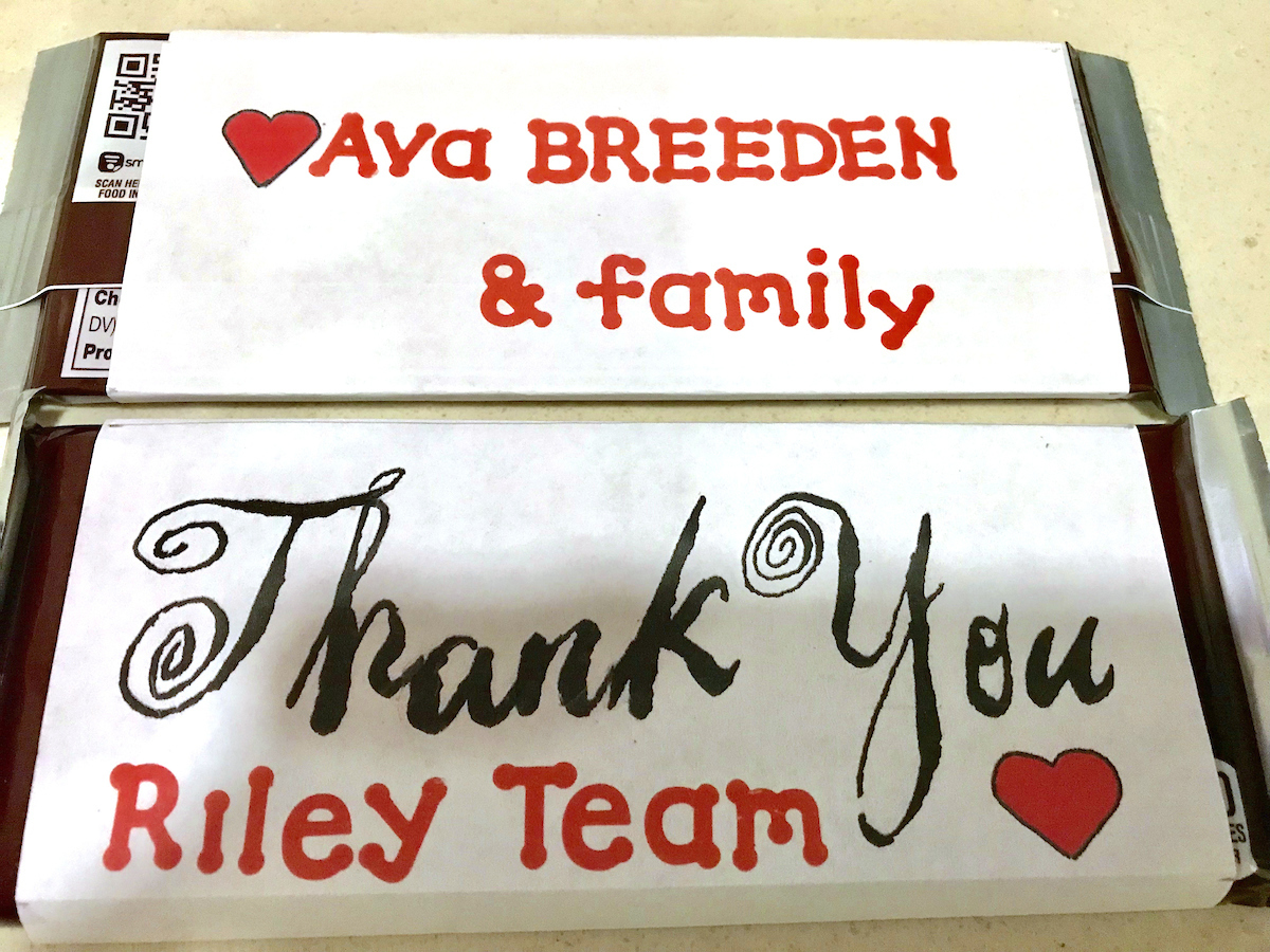 "Sign with ""Thank You Riley Team"""
