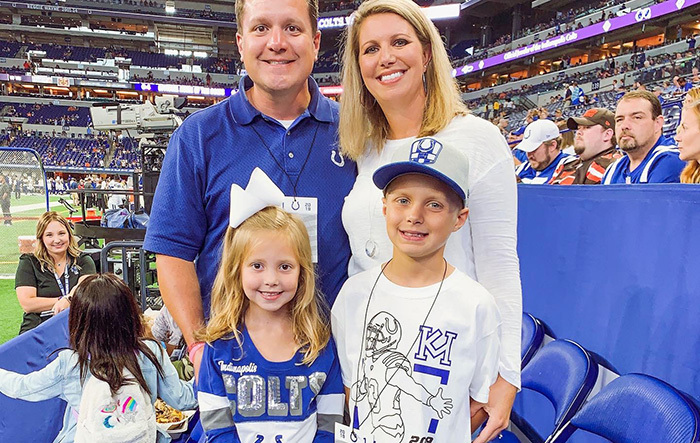 Mason Garvey with family at a Colts game