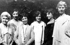 Founding officers of the Riley Cheer Guild, from left, are Mrs. (A.J) Mary Emma Thiebaud Porter, Miss Agnes Mahoney, Mrs. J.W. Knox, Miss Alice B. Velsey, Mrs. Blanche B. McKim, and Miss Elizabeth Smith. IUPUI University Library Special Collections and Archives