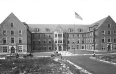 An exterior view of the eastside of Riley Hospital is shown around 1925. Credit: IUPUI University Library Special Collections and Archives
