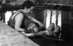 An occupational therapist works with a patient in the hydro-therapy pool in 1935. Credit: IUPUI University Library Special Collections and Archives