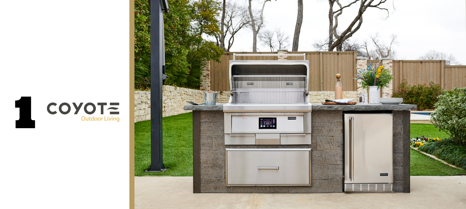 Coyote Pellet Grill and outdoor refrigerator