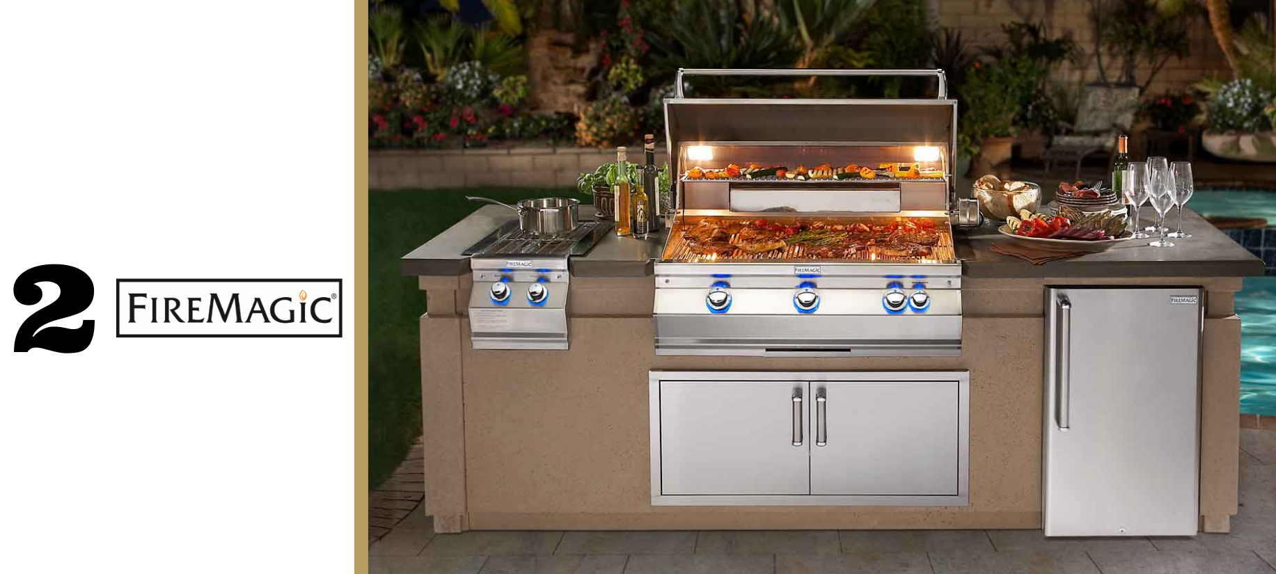 Fire Magic built-in grill along with single side burners