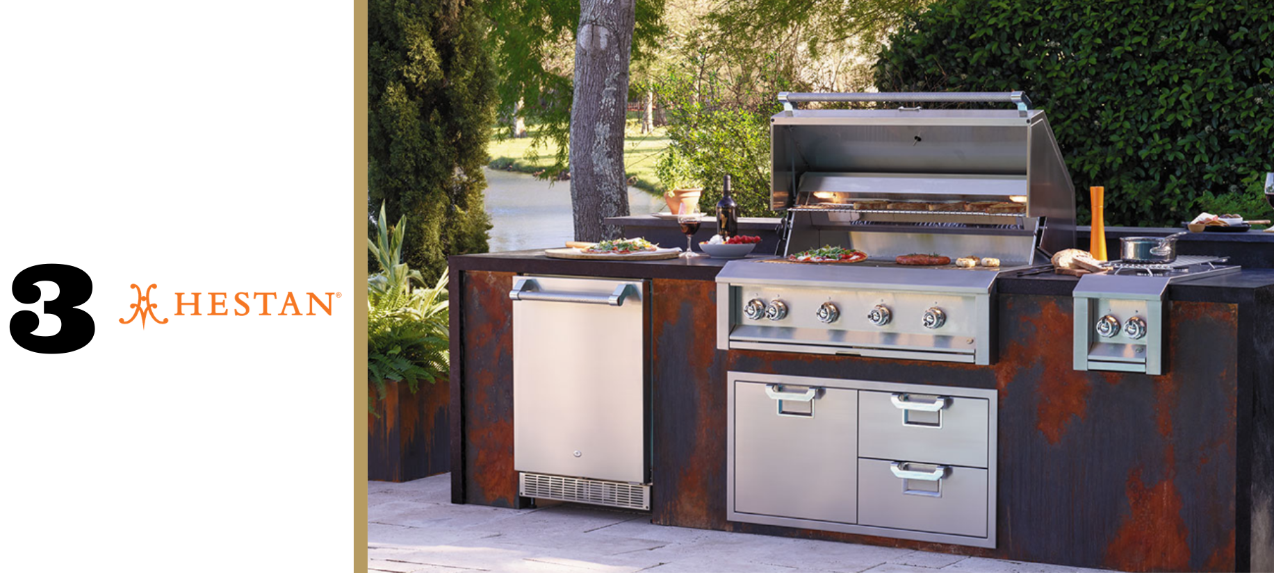 Hestan Outdoor grill with double storage doors and undercounter refrigerator