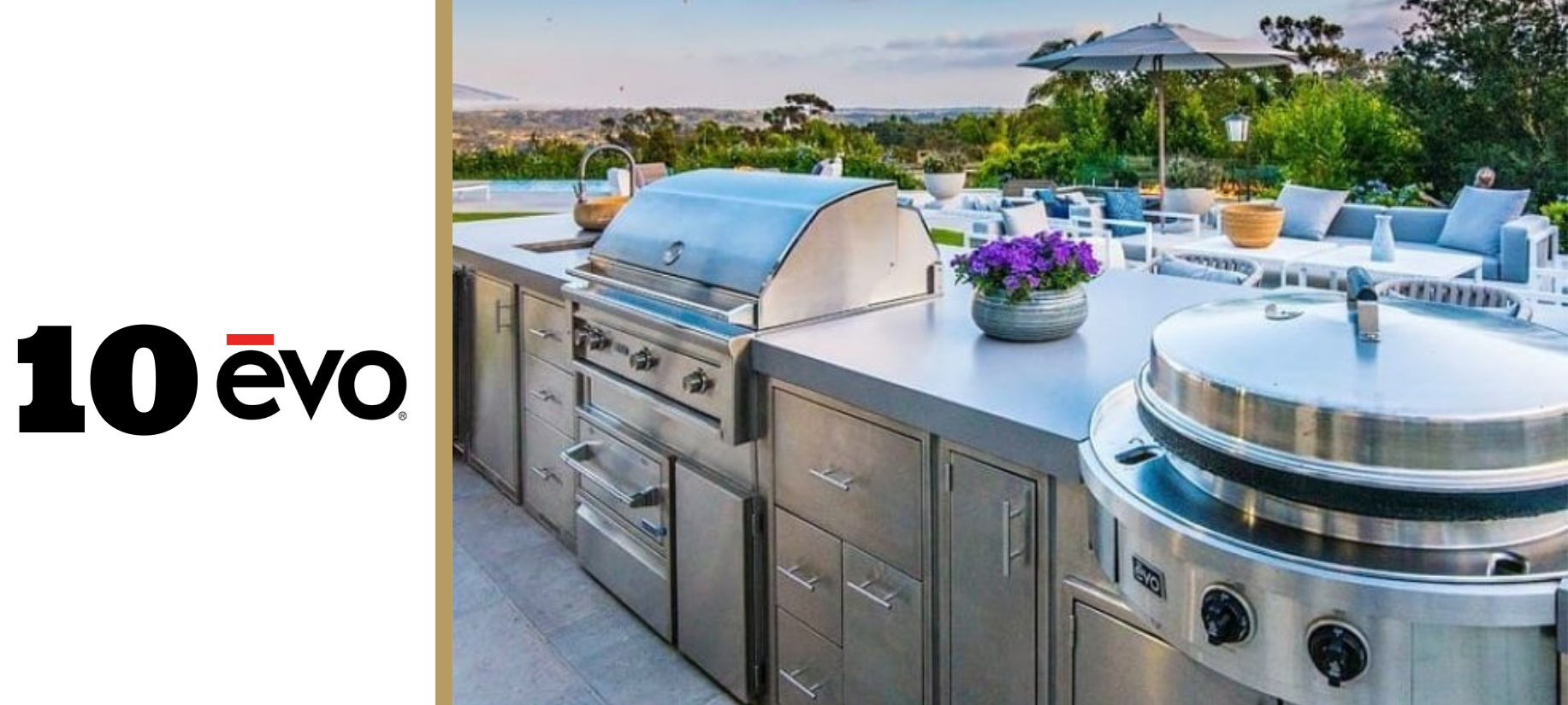 Evo Affinity 30G built-in cooking surface in outdoor kitchen counters