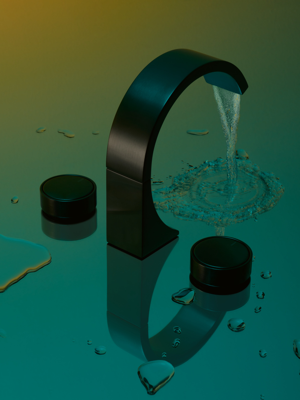 Matte black Dornbracht faucet CYO collection with water and black matte knobs