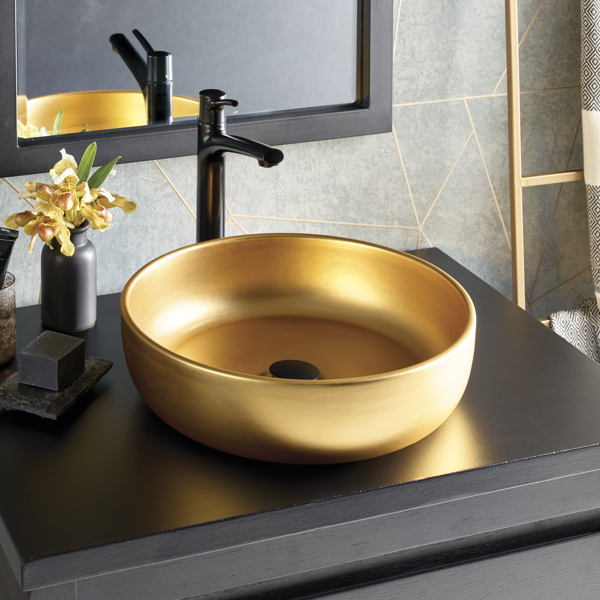 24k gold sink by Native Trails Precious Metals Collections with black matte bathroom faucet