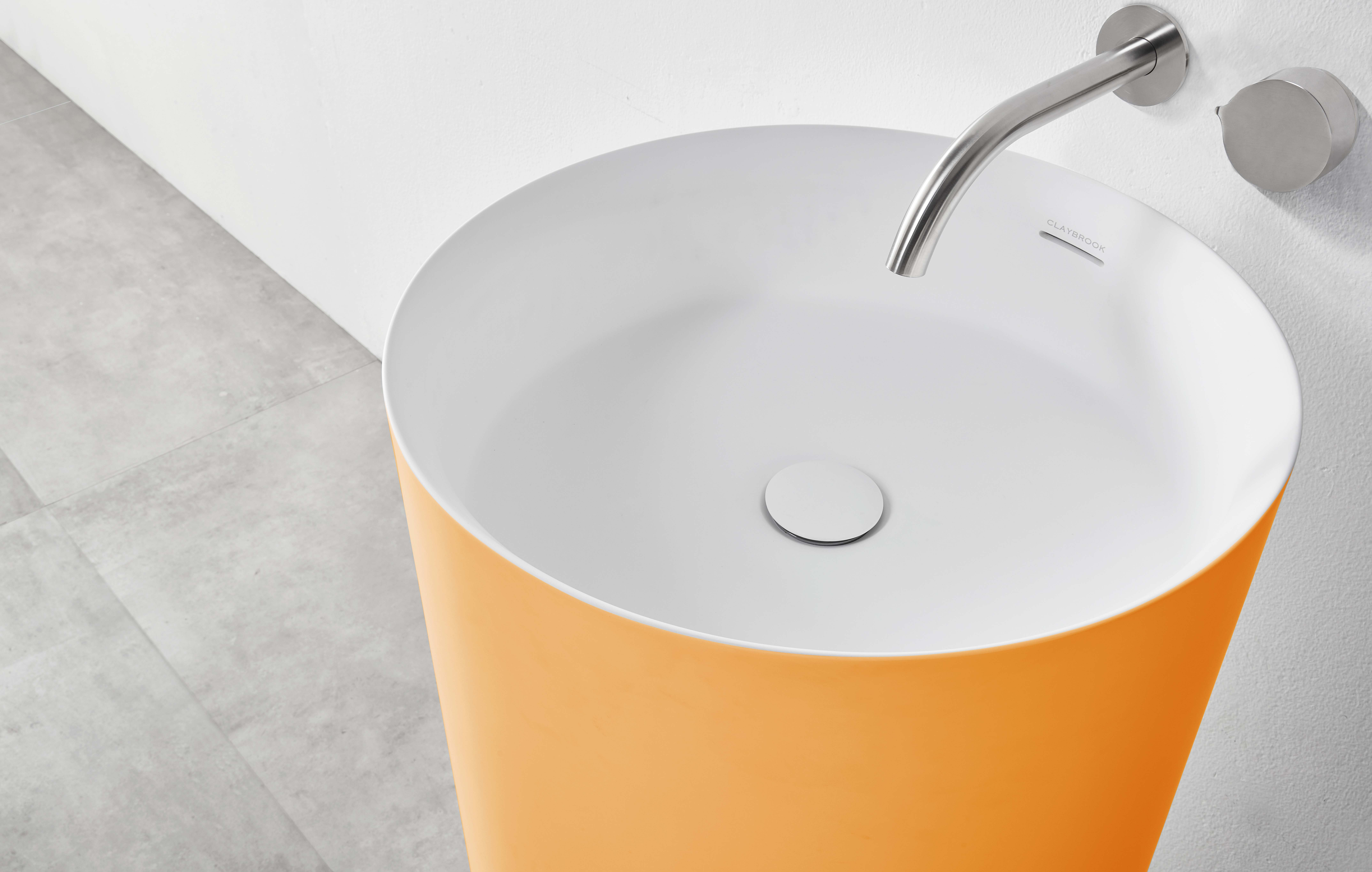 Claybrook yellow bathroom basin and silver faucet RAL Colors Collection