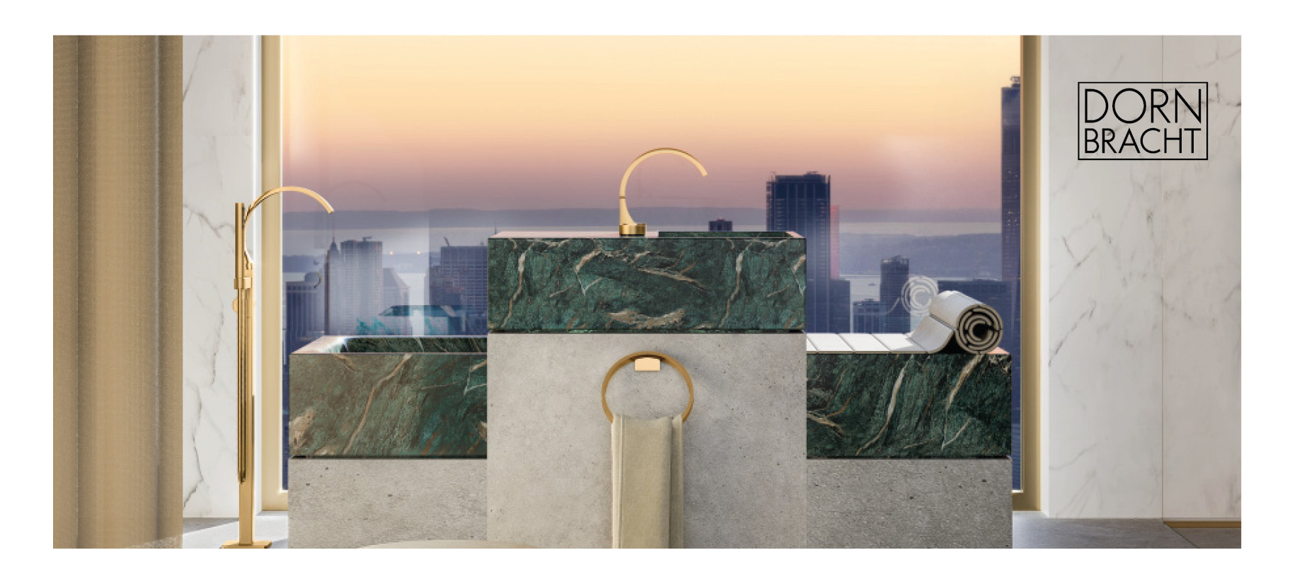 Dornbracht CYO collection gold and green marble bathroom with sunset view